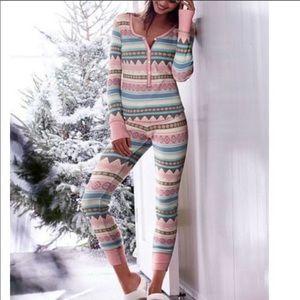Victoria's Secret Intimates & Sleepwear - [Victorias Secret] Pink Aztec Thermal Pajama Set